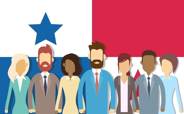 Panama flag businessmen group Premium Vector