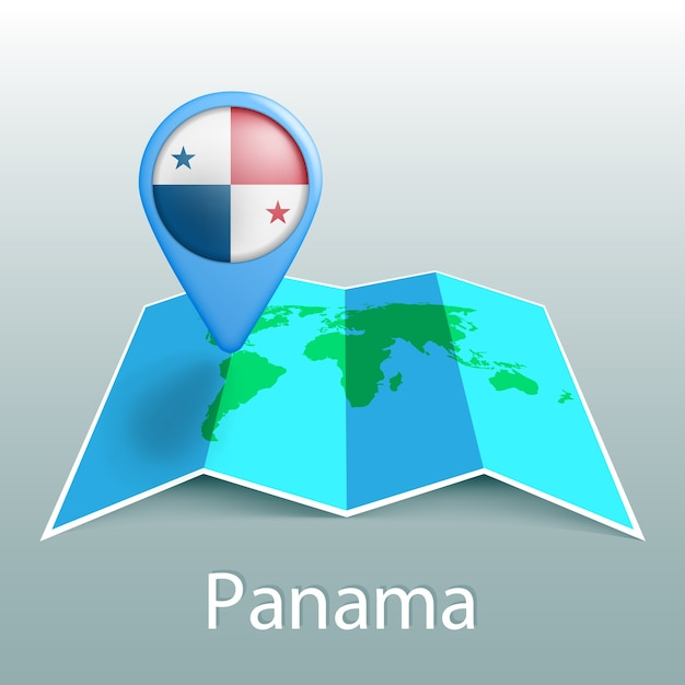 灰色の背景に国の名前とピンでパナマの国旗の世界地図 Premiumベクター