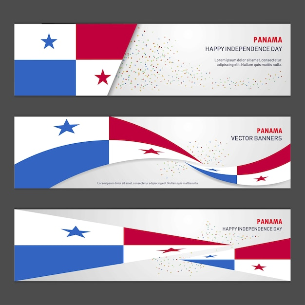 Panama independence day banners Free Vector