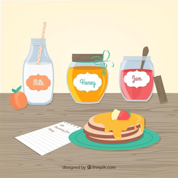 Pancakes breakfast Free Vector