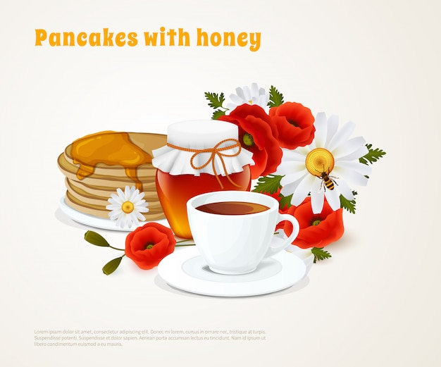 Pancakes with honey composition Free Vector