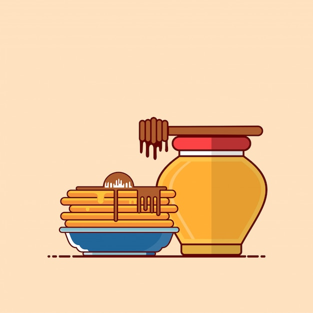 Pancakes with honey illustration. fast food clipart concept isolated. flat cartoon style vector Premium Vector