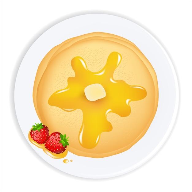 油、蜂蜜、イチゴ、白い背景、イラストのパンケーキ Premiumベクター