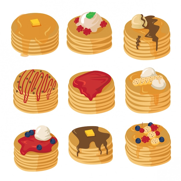 Pancakes with various topping set Premium Vector