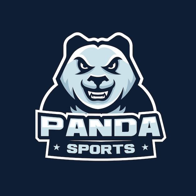 スポーツ、eスポーツゲームのロゴイラストのパンダ怒っているヘッドマスコットロゴ Premiumベクター