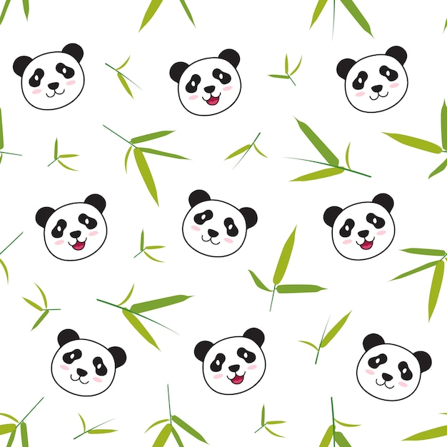Panda animal pattern Premium Vector