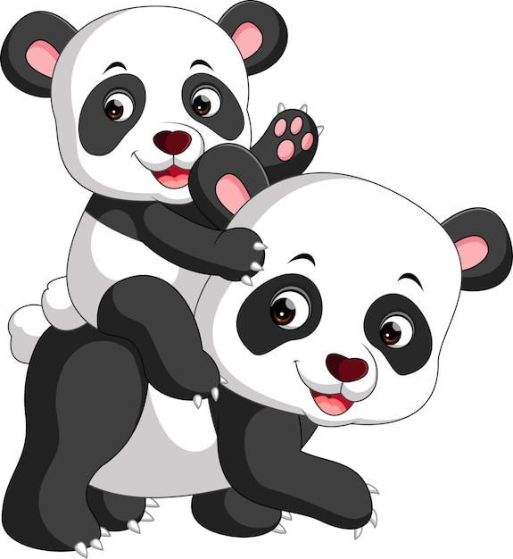 Panda and baby panda cartoon Premium Vector