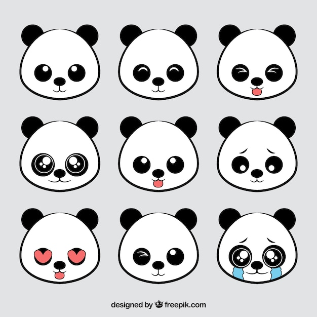 Panda bear avatar collection Free Vector