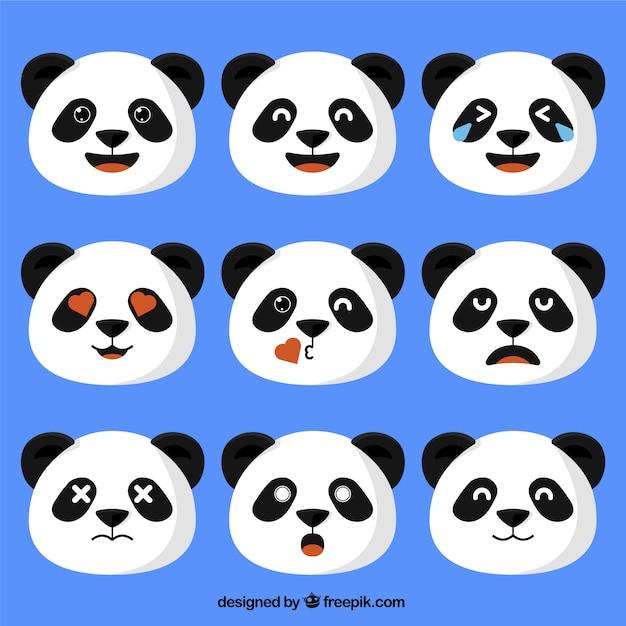 Panda bear emojis in flat design Premium Vector