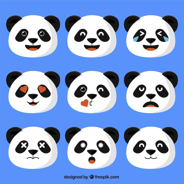 Panda bear emojis in flat design Premium Vector
