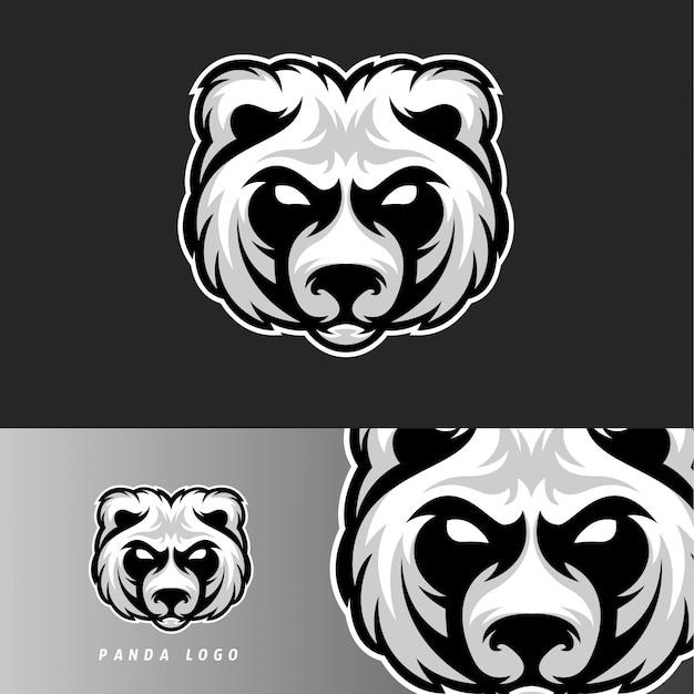 Panda bear esport gaming mascot emblem Premium Vector
