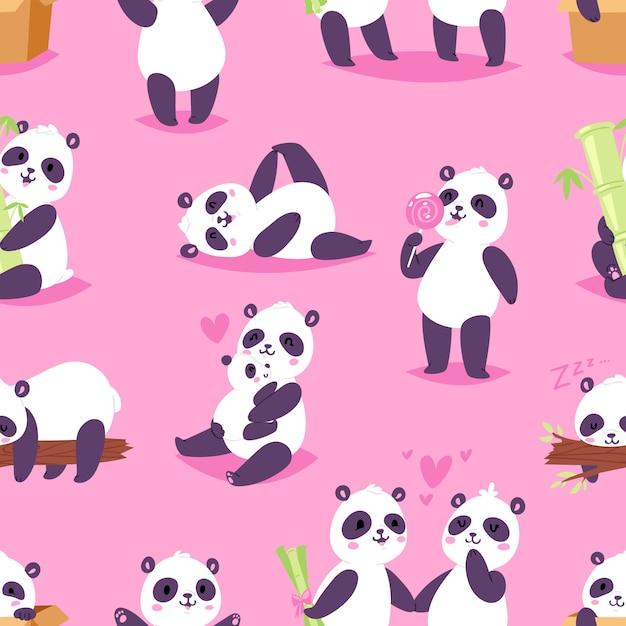 Медведь панда или китайский медведь с бамбуком в любви, играя или спя иллюстрации набор гигантской панды, читая книгу или едят мороженое на фоне Premium векторы