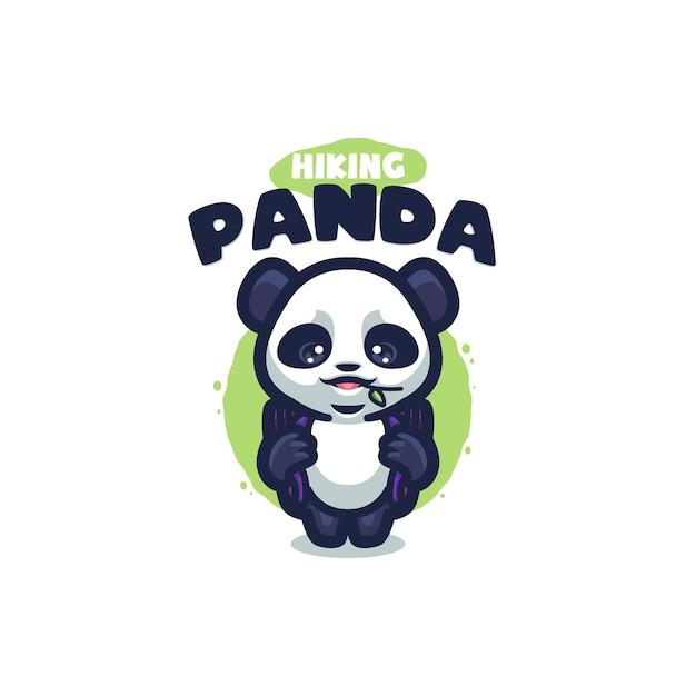あなたの会社のパンダ漫画のロゴ Premiumベクター