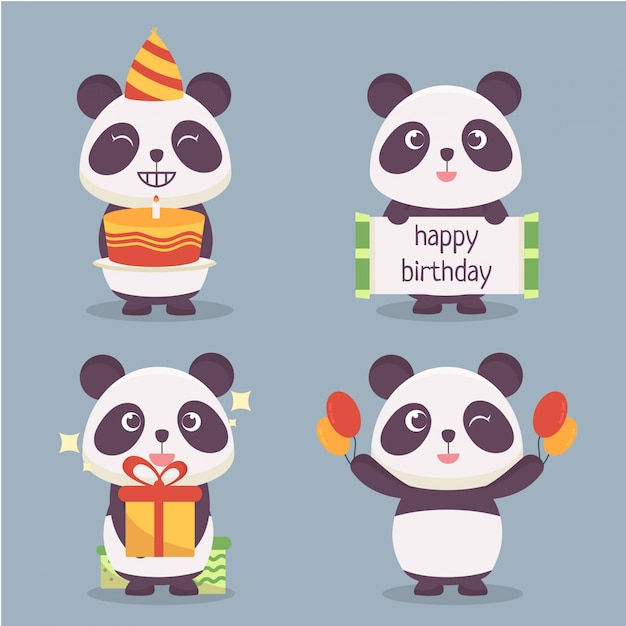 Panda character collection Premium Vector
