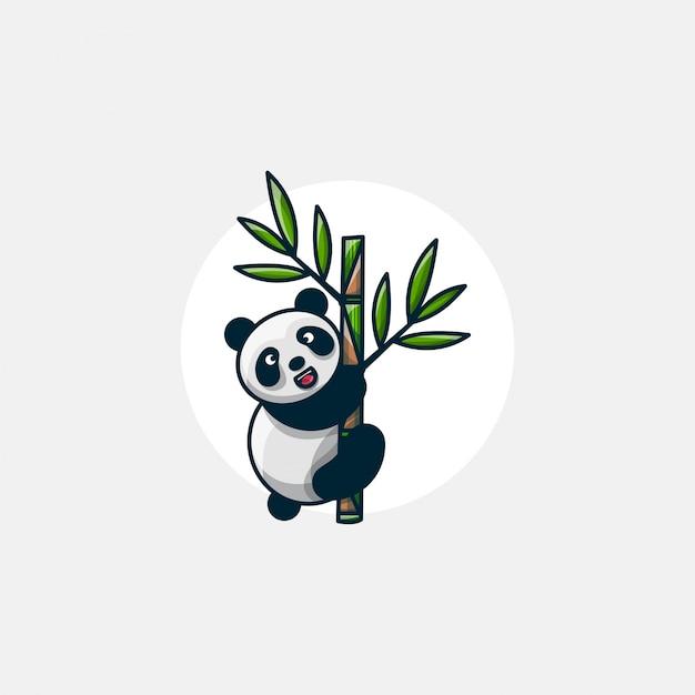 Панда забирается на бамбуковый персонаж Premium векторы