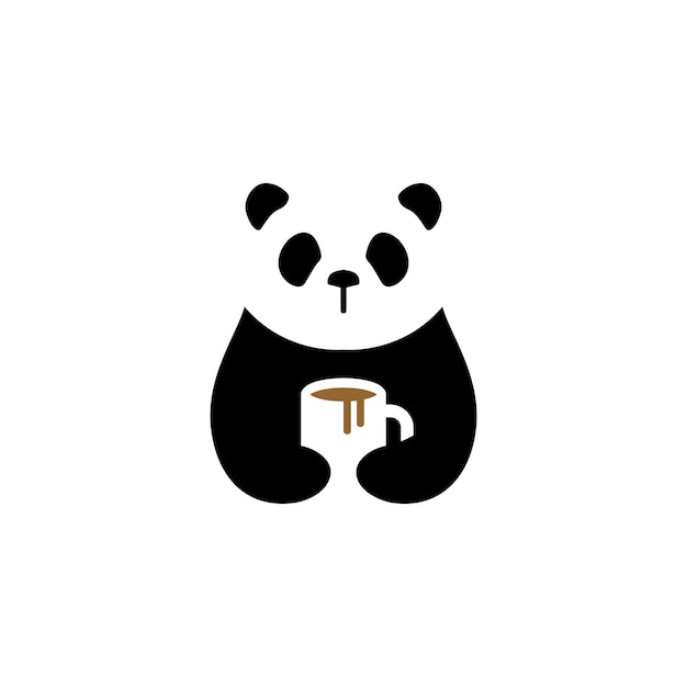 Panda coffee mug logo vector icon illustration Premium Vector
