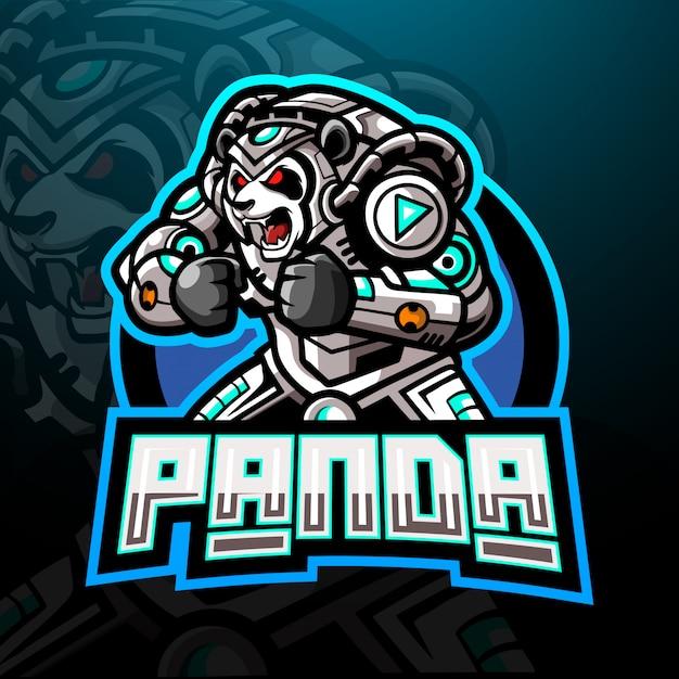 パンダサイバーeスポーツのロゴのマスコットデザイン。 Premiumベクター