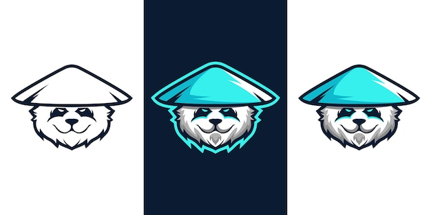 パンダeスポーツマスコットロゴデザイン Premiumベクター
