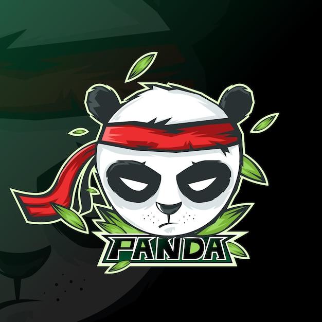 パンダeスポーツゲーミングマスコットロゴ 無料ベクター