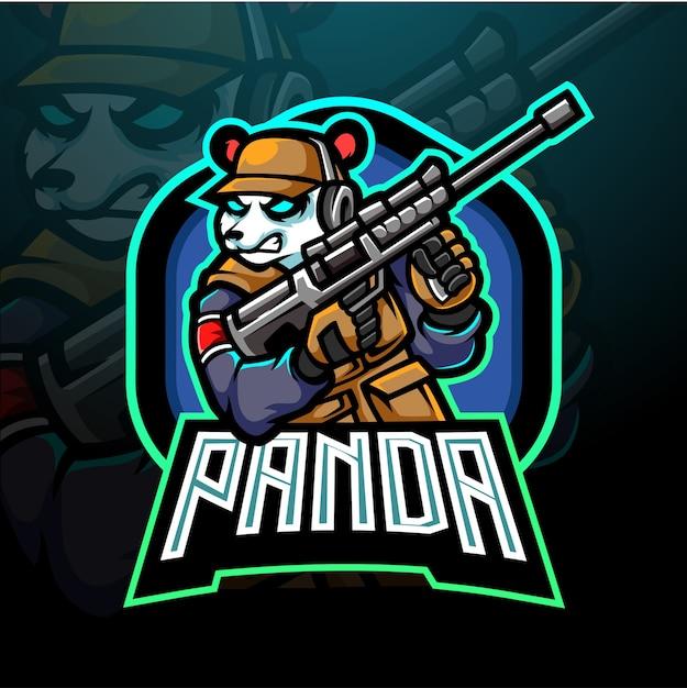 パンダeスポーツマスコットデザインロゴ Premiumベクター