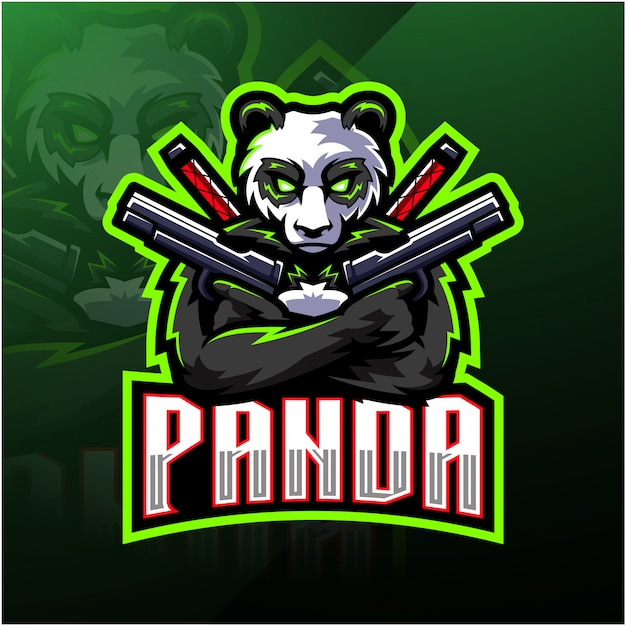 Panda gunner esport mascot logo Premium Vector