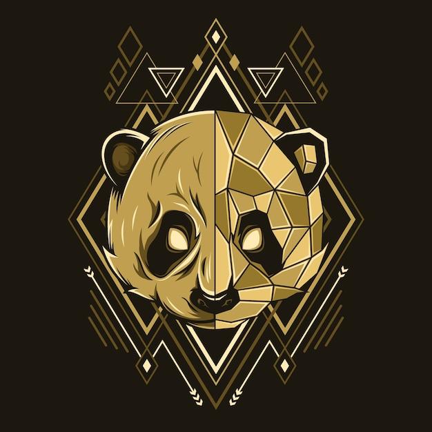 パンダの頭のジオメトリスタイルの図 Premiumベクター
