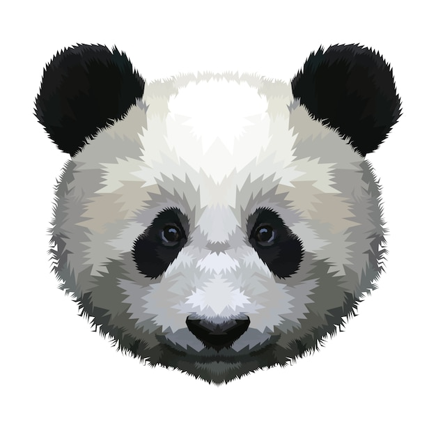 Panda head isolated on a white background Premium Vector
