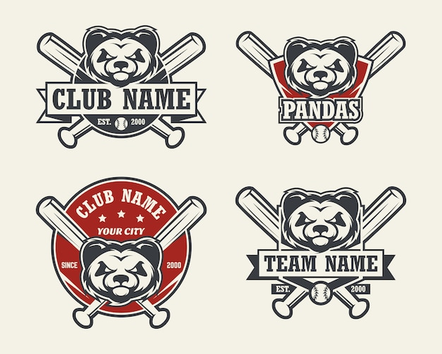パンダヘッドスポーツのロゴ。野球のエンブレム、バッジ、ロゴ、ラベルのセット。 Premiumベクター