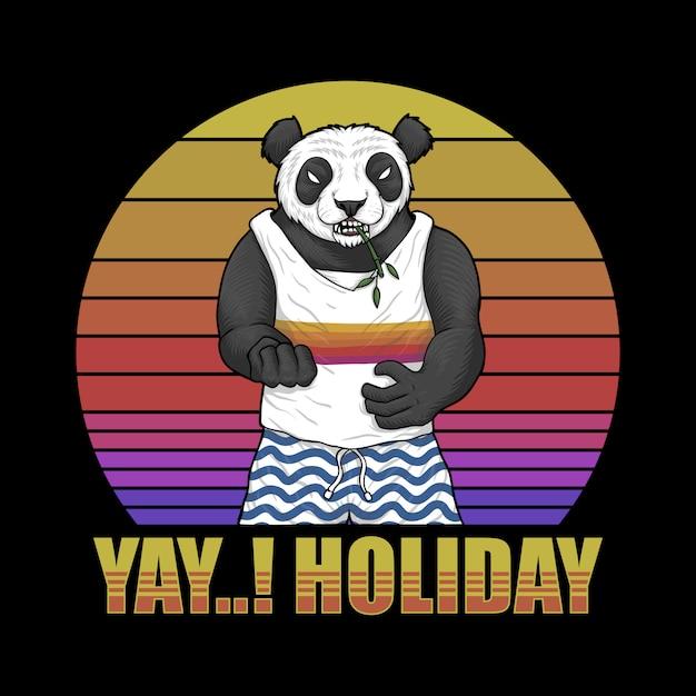 Panda holiday sunset retro illustration Premium Vector