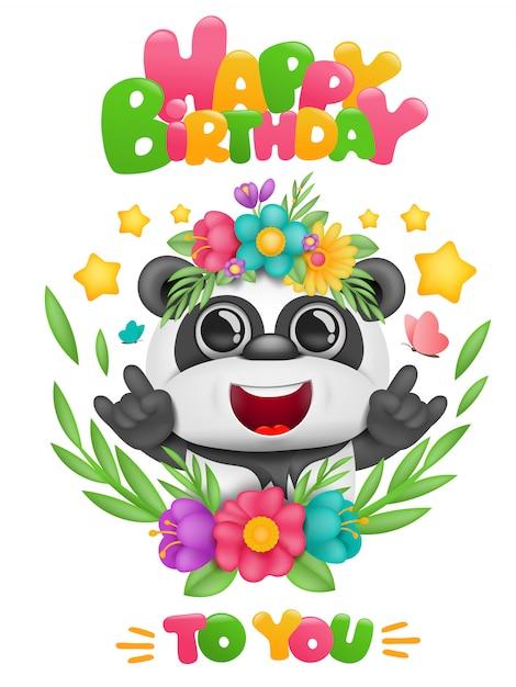 Открытка на день рождения с мультипликационным персонажем panda kawaii в цветочной рамке Premium векторы