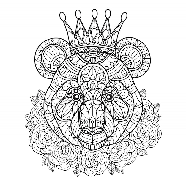 Panda King Coloring Pages For Adults Vector Premium Download