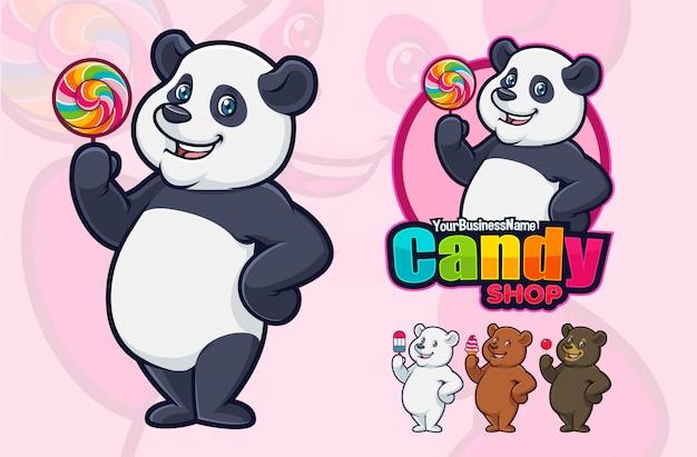 Panda mascot design for business or logo. Premium Vector