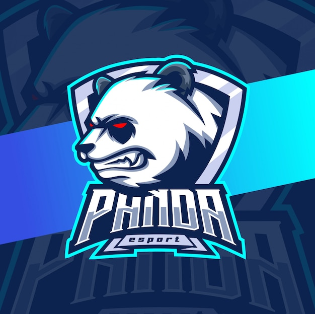 Panda mascot esport logo design Premium Vector