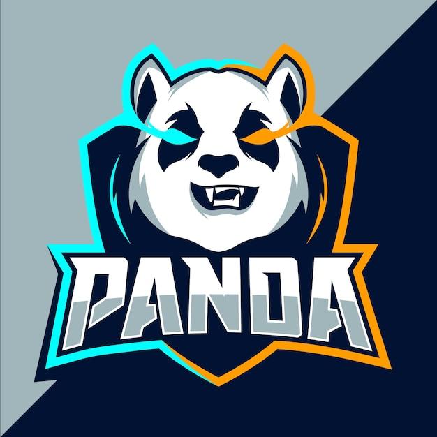 パンダマスコットeスポーツのロゴデザイン Premiumベクター