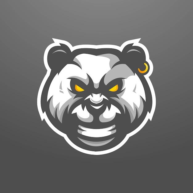 Дизайн логотипа талисмана панды. злая панда носит серьгу Premium векторы