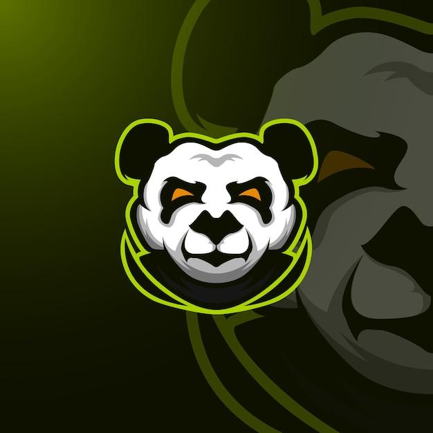Panda mascotロゴe-sport Premiumベクター