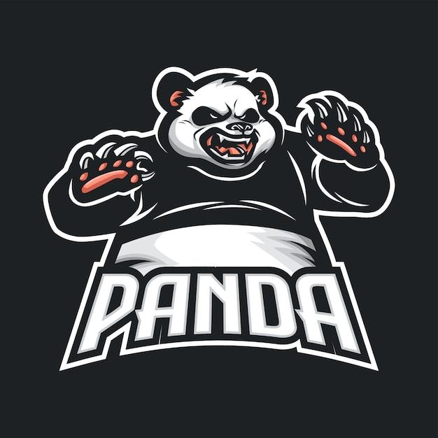 Логотип panda mascot для киберспорта и спорта Premium векторы
