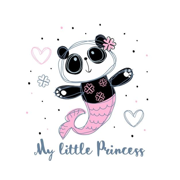 Панда русалка. милая девушка. маленькая принцесса. Premium векторы