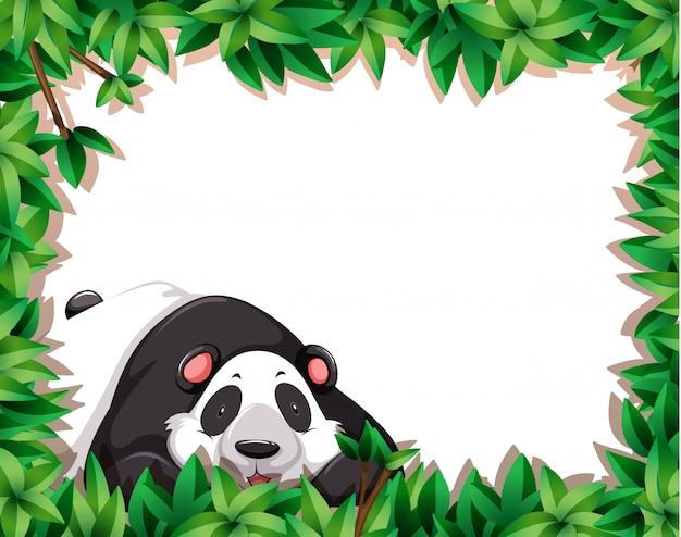 Panda in nature frame Free Vector