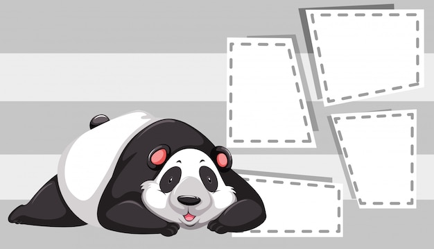 Panda on note template Free Vector