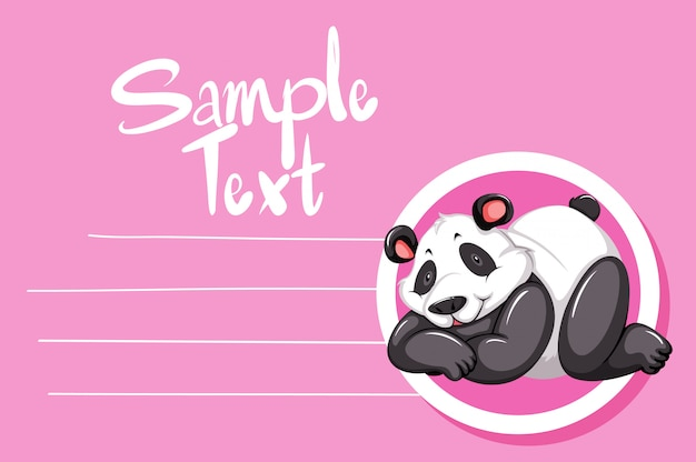 Panda on pink note Free Vector