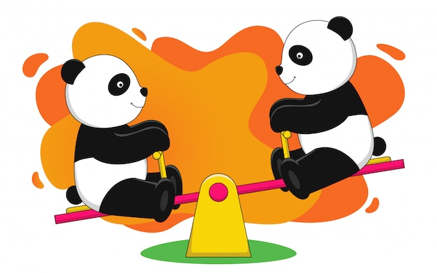 Panda plays with a seesaw vector illustration Premium Vector
