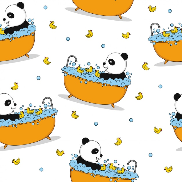 Panda seamless pattern background vector design Premium Vector
