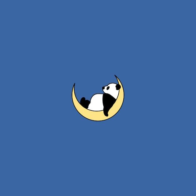 Panda sleeping on the moon, vector illustration Premium Vector