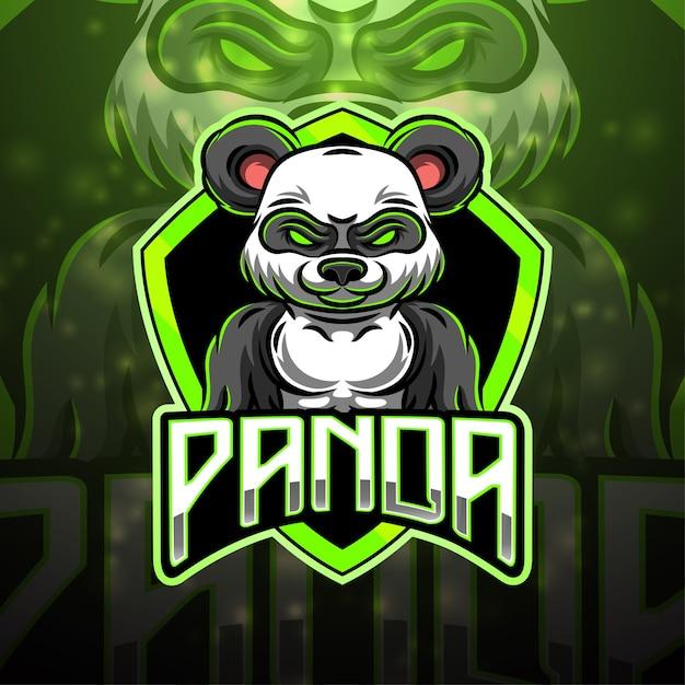 パンダスポーツマスコットロゴデザイン Premiumベクター