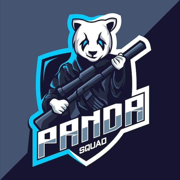 銃のマスコットeスポーツロゴデザインのパンダチーム Premiumベクター