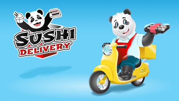 Panda sushi delivery on scooter Premium Vector