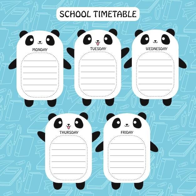 Panda timetable Premium Vector