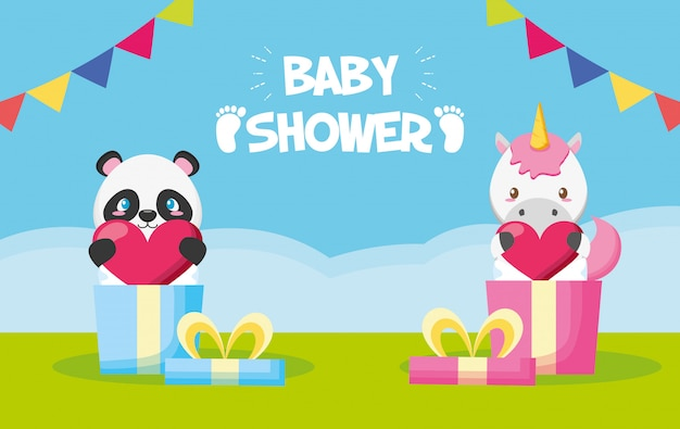 Panda and unicorn in gift boxes for baby shower card Free Vector