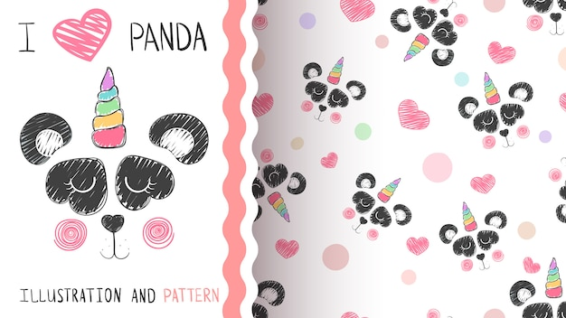 Panda and unicorn pattern Premium Vector